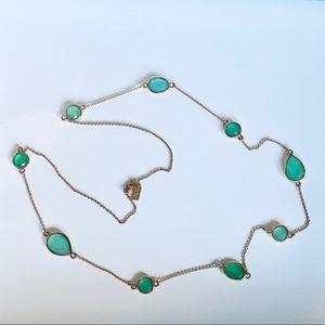 """Kate spade green gem station necklace, 32"""""""